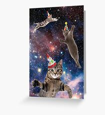 Cats in Space Birthday Greeting Card
