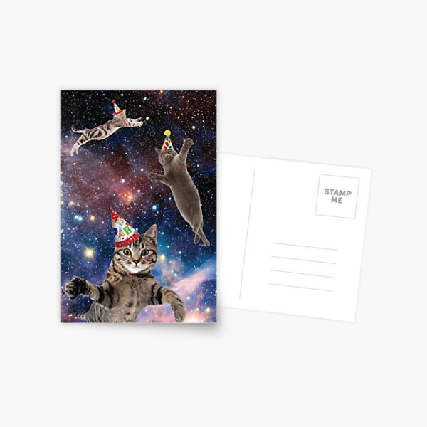 Cats in Space Birthday Postcard