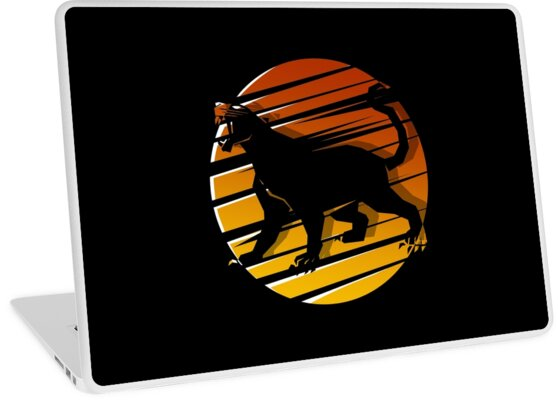black panther silhouette animal t shirt laptop skins by grogblossom