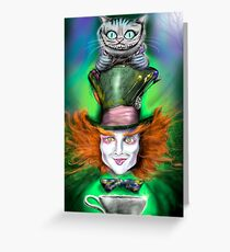 Cheshire Cat & Mad Hatter Alice in Wonderland Greeting Card
