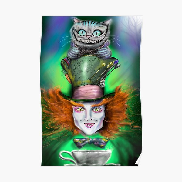 Cheshire Cat & Mad Hatter Alice in Wonderland Poster