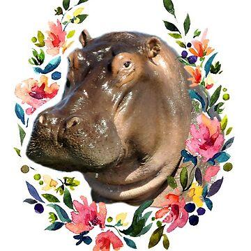 Hipopótamo en una corona de flores de alyssamio