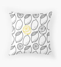 The Lemon Citrus Doodle Seamless Pattern Vector Drawing Throw Pillow