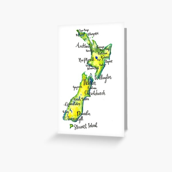 Watercolour map of New Zealand Greeting Card