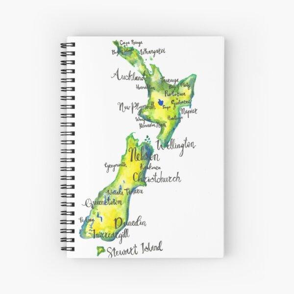 Watercolour map of New Zealand Spiral Notebook
