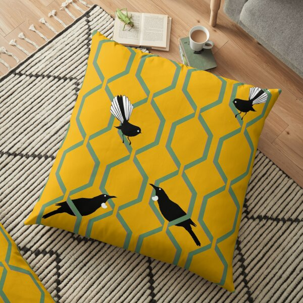 Tui and Fantail on a Lattice Floor Pillow
