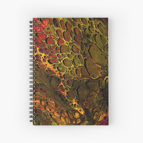 Yellow and Pink - Paint Pour Print with Fineliner Pen Detail Spiral Notebook
