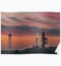 Spacex Falcon schwerer epischer Himmel Poster