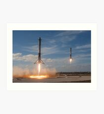 Spacex Falcon Heavy Side Boosters Landing Art Print