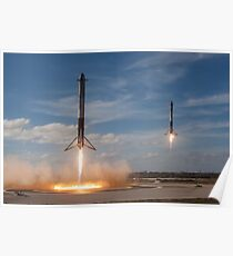 Spacex Falcon Heavy Side Booster Landung Poster