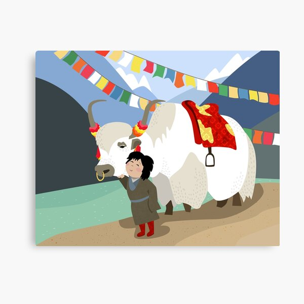 Tibetan yak and his best friend in far east mountains Tibetan prayer flags river local child colorful happy wild nature Canvas Print