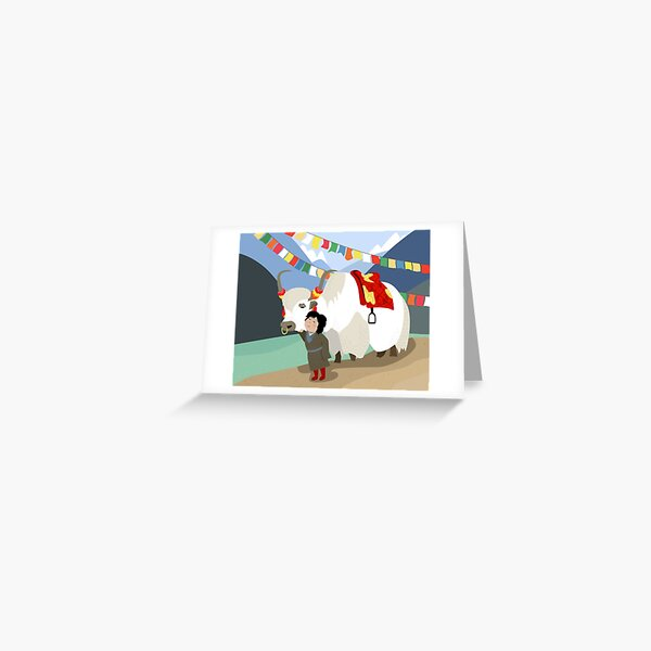 Tibetan yak and his best friend in far east mountains Tibetan prayer flags river local child colorful happy wild nature Greeting Card
