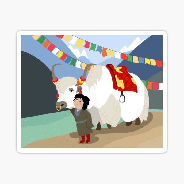 Tibetan yak and his best friend in far east mountains Tibetan prayer flags river local child colorful happy wild nature Sticker
