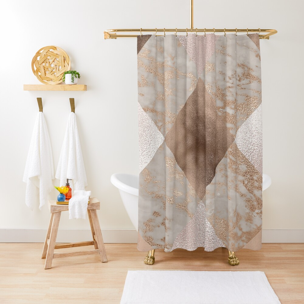 Copper and Blush Rose Gold Marble Quadrangle Plaid Pattern  Shower Curtain
