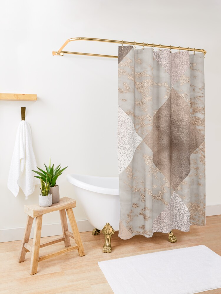 Alternate view of Copper and Blush Rose Gold Marble Quadrangle Plaid Pattern  Shower Curtain