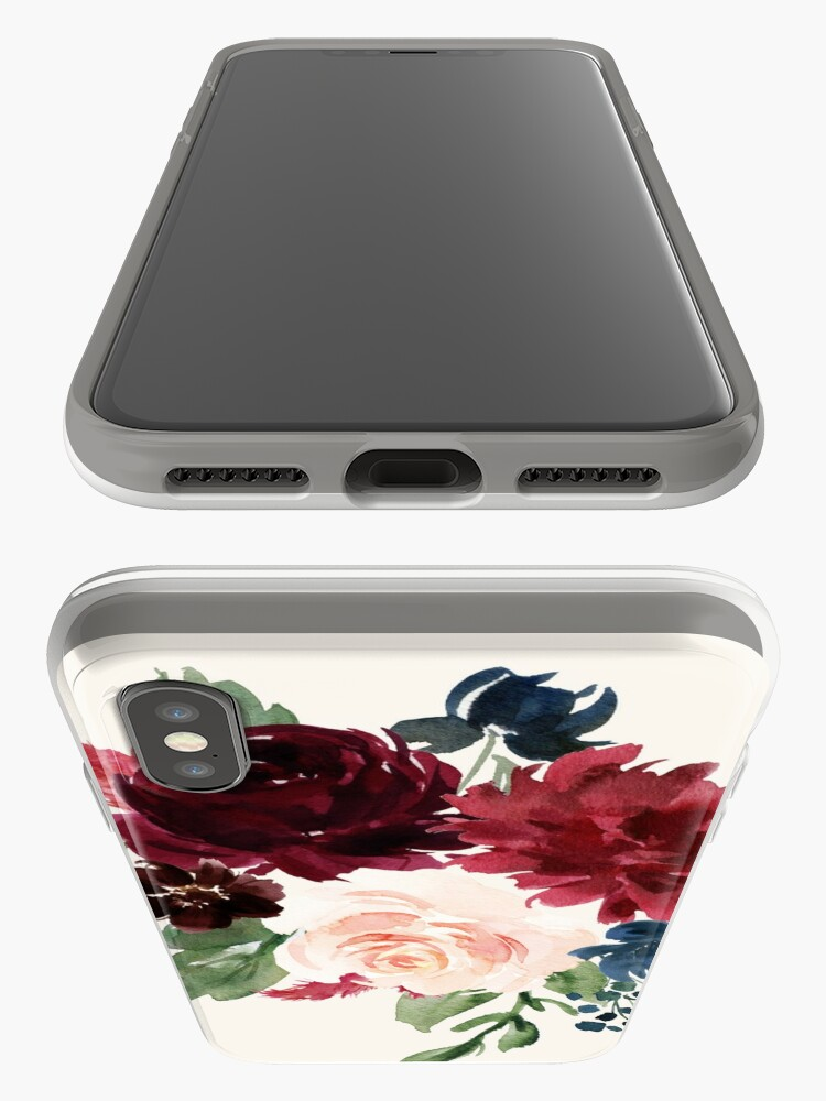 Alternate view of Burgundy Navy Floral Watercolor  iPhone Case & Cover