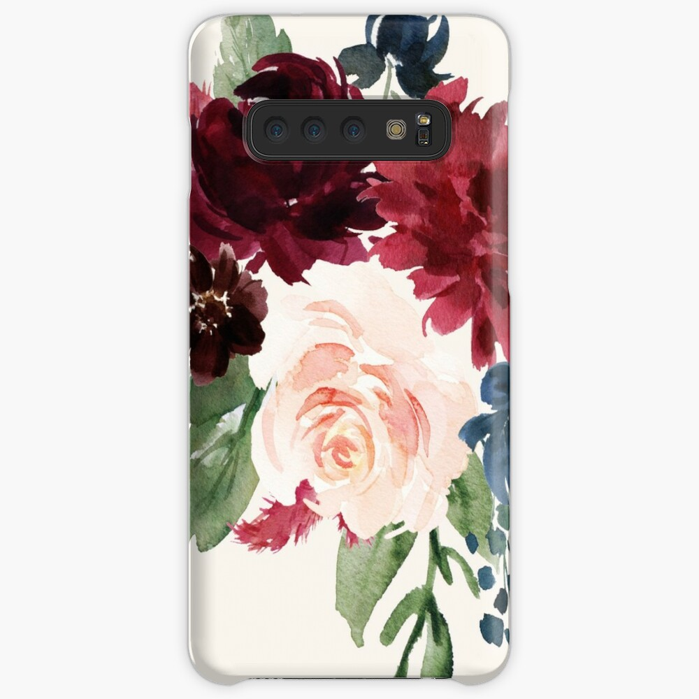 Burgundy Navy Floral Watercolor  Case & Skin for Samsung Galaxy