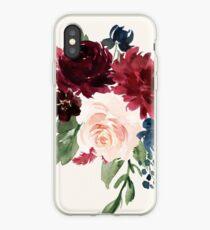 Burgunder Navy Floral Aquarell iPhone-Hülle & Cover