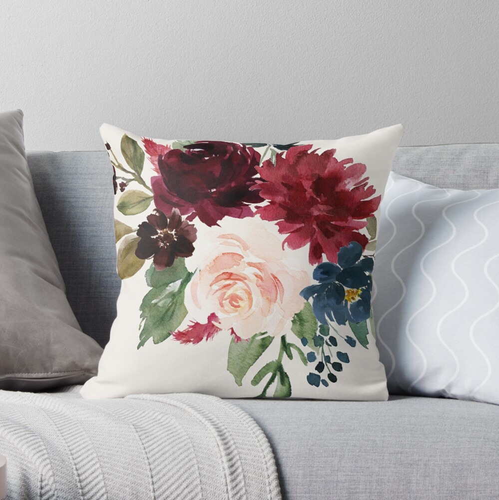 Burgundy Navy Floral Watercolor  Throw Pillow