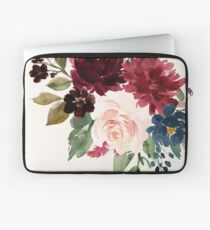 Burgundy Navy Floral Watercolor  Laptop Sleeve