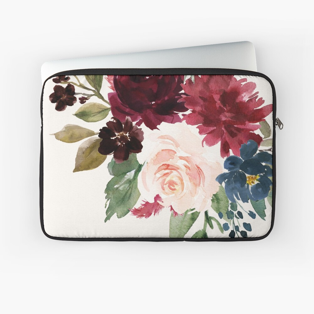 Burgundy Navy Floral Watercolor  Laptop Sleeve Front