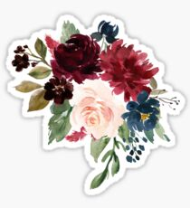 Burgundy Navy Floral Watercolor  Sticker