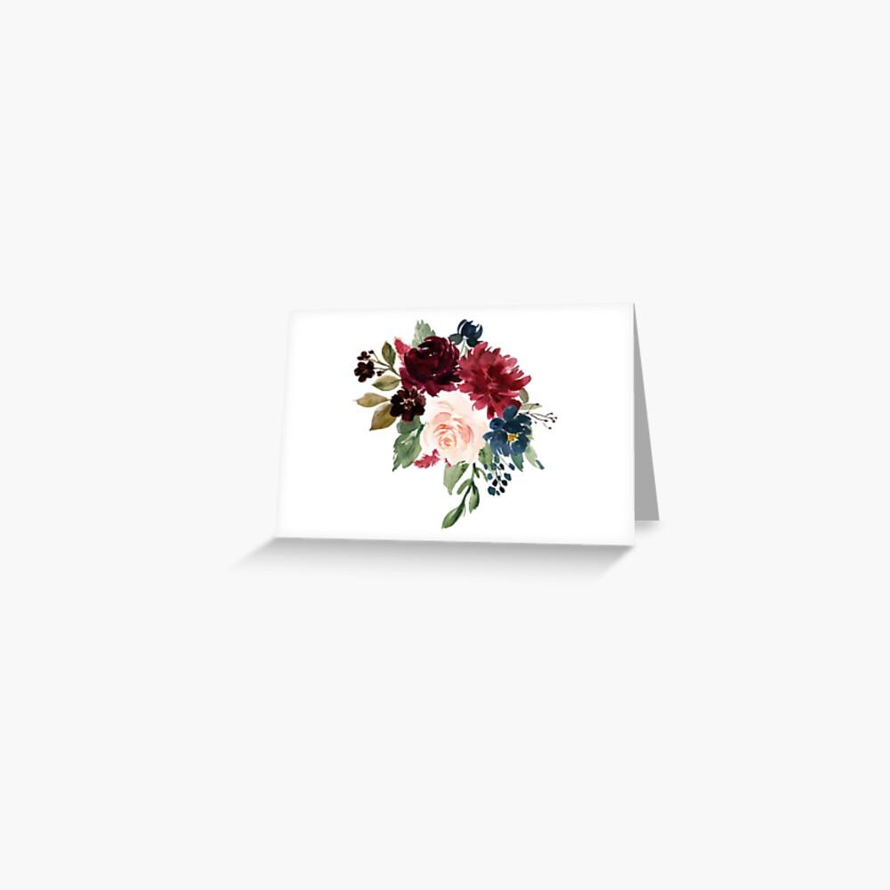Burgundy Navy Floral Watercolor  Greeting Card