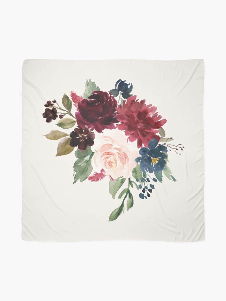 Alternate view of Burgundy Navy Floral Watercolor  Scarf