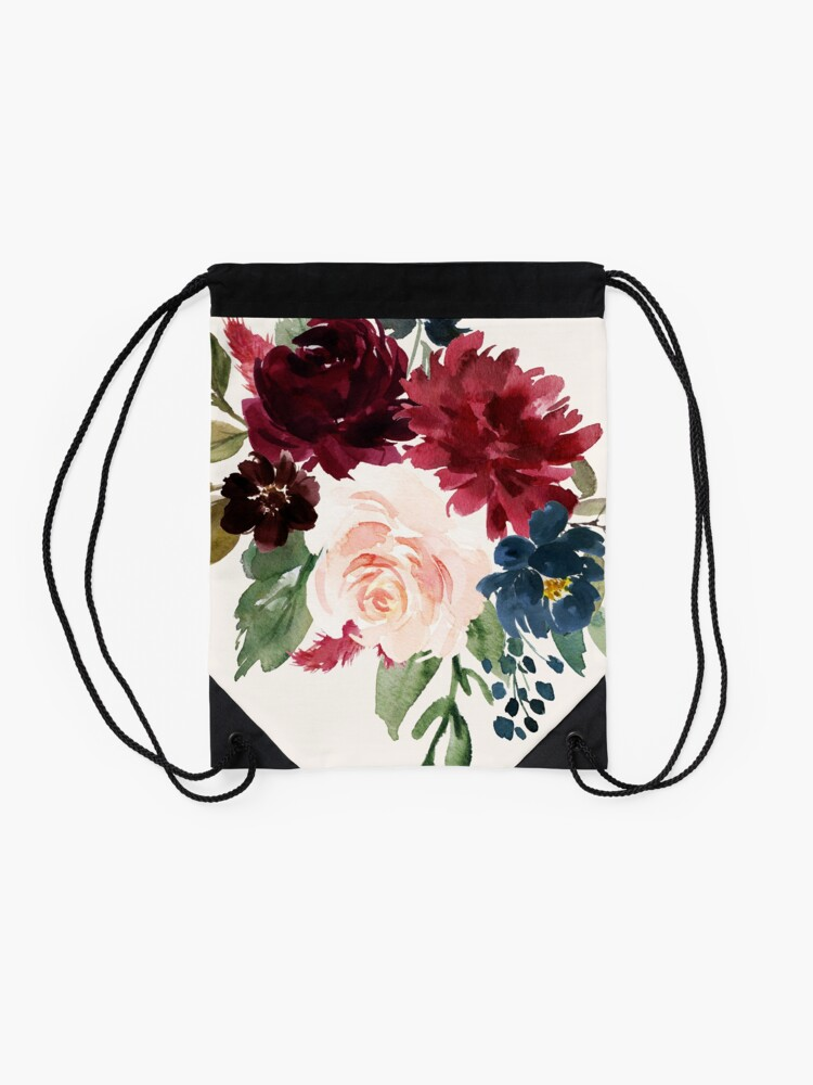 Alternate view of Burgundy Navy Floral Watercolor  Drawstring Bag