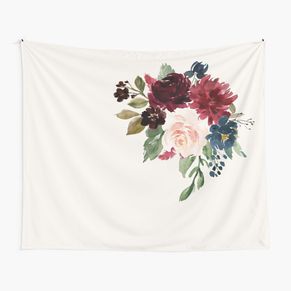 Burgundy Navy Floral Watercolor  Wall Tapestry