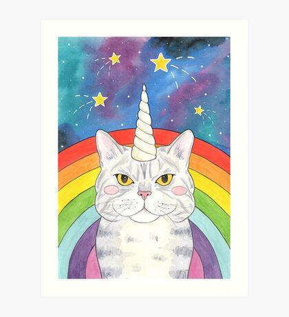 Magical Caticorn / Cat Unicorn Rainbow Galaxy Art Print