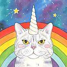 Magical Caticorn / Cat Unicorn Rainbow Galaxy by arosecast