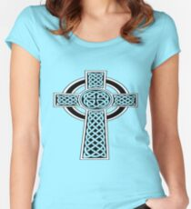 St Patrick's Day Celtic Cross Black and White Women's Fitted Scoop T-Shirt