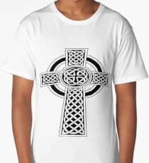 St Patrick's Day Celtic Cross Black and White Long T-Shirt