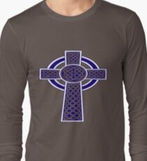 St Patrick's Day Celtic Cross Blue and White Long Sleeve T-Shirt