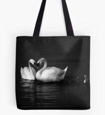 Swan Heart B&W Tote Bag