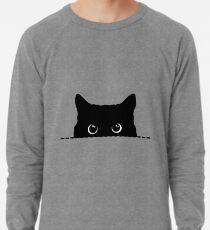 Spähen der schwarzen Katze Leichtes Sweatshirt