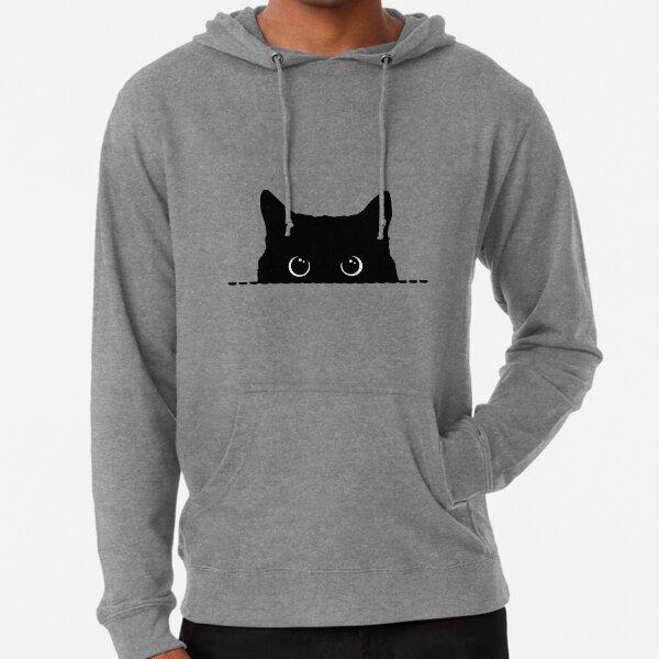Schwarze Katze späht Leichter Hoodie