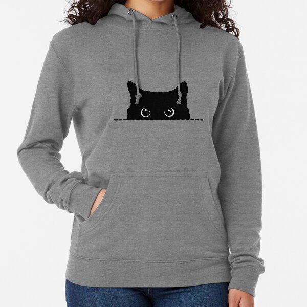 Black Cat Peeking  Lightweight Hoodie