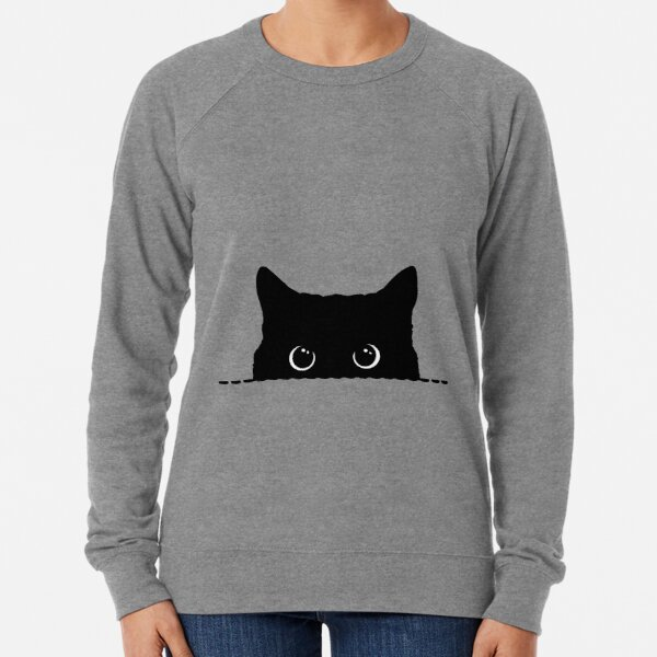 Black Cat Peeking  Lightweight Sweatshirt