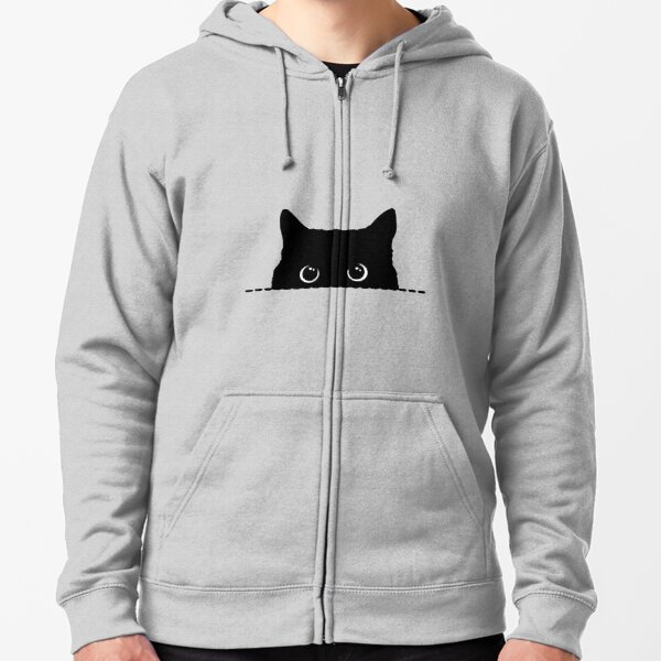 Black Cat Peeking  Zipped Hoodie