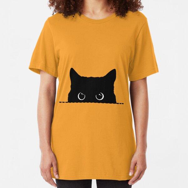 Black Cat Peeking  Slim Fit T-Shirt