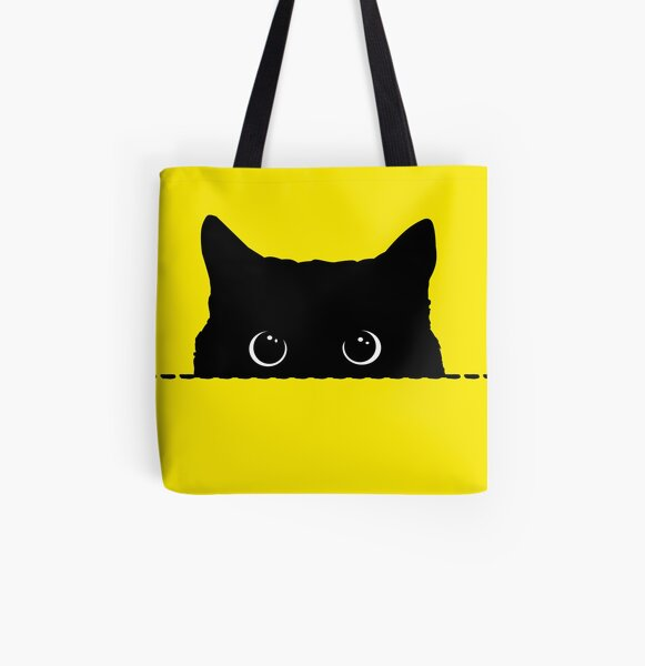 Cat Tote Bag Red and Yellow with Green and Yellow and White Cats