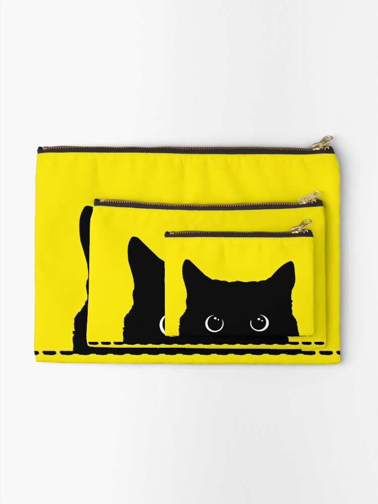 Alternate view of Black Cat Peeking  Zipper Pouch