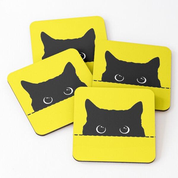 Black Cat Peeking  Coasters (Set of 4)