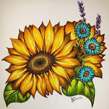 Sunflower and cornflower bouquet  by KAStrumila