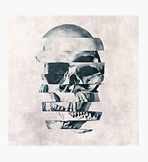 Glitch Skull Mono Photographic Print