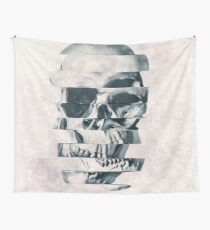 Glitch Skull Mono Wall Tapestry
