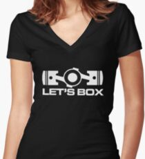Lets Box - Subaru Boxer engine (Black) Women's Fitted V-Neck T-Shirt
