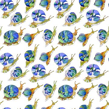 Original seamless background watercolor with funny snails by maystra